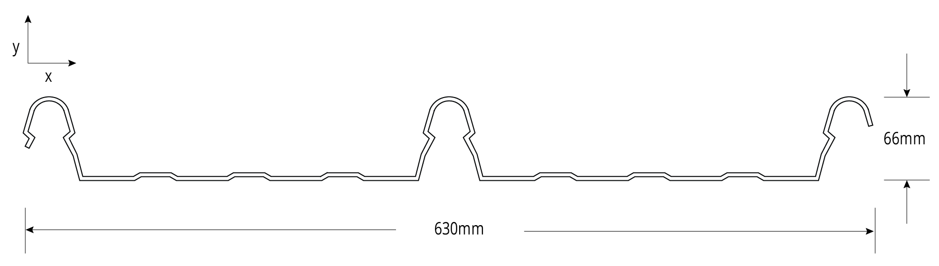 HIKLIP<sup class='fm-sup'>®</sup> 630 CYCLONIC Profile Cross Section