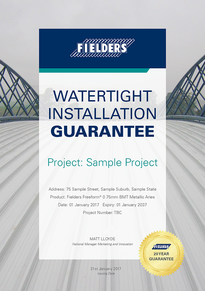 Roofing Guarantee Specifying Fielders