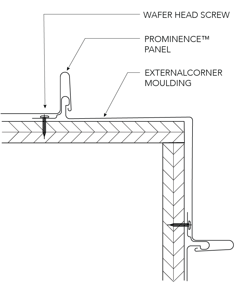 Prominence™ Installation Details Corner Construction - Vertical Panels  EXTERNAL CORNER Figure PR ID CY 011